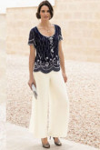 Hand Beading Dark Navy top mother of the bride pants suits mps-167