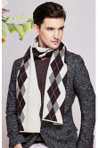 Diamond lattice British Wind Basulan Wool Autumn Winter Scarf Ivory and Brown