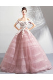 Discount Ball Gown Pearl Pink Strapless Bean Paste Quinceanera Dresses TSJY-176
