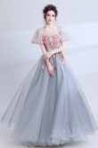 Empire A-line Evening Dresses Handmade Flower Gray Prom Dresses TSJY-106