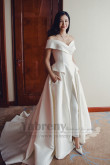 Fashion Bride Jumpsuits Dress Off the Shoulder Wedding Jumpsuits Dresses With Brush Train so-282