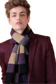 Fashion British Wind Acrylic Plaid Scarfs for Men Purple Khaki and Dark Navy