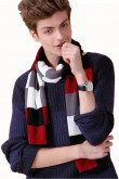 Fashion British Wind Acrylic Plaid Scarfs for Men White Black Red and Gray