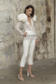 Fashion Lace lovely Wedding Jumpsuit with shoulder flowers so-228
