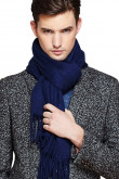 Dark Navy Stylish Pure Color Wool Scarves for Autumn and Winter with tassels