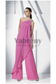 Fuchsia chiffon Glamorous lovely One Shoulder women's pants suit so-168