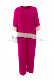 Fuchsia Chiffon Women's Outfit 2PC Mother of the bride Pant suits Comfortable mps-488