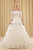 Glamorous Ivory Lace Off-the-shoulder Tailed Wedding dresses wd-009