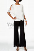 Glamorous Pearl Trim Overlay Top Pants suit for Weding party mps-004