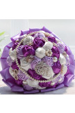 Grape and Fuchsia and ivory Artificial wedding bouquets with beads and Glass Drill