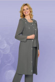 Charcoal  3PC Mother's Formal Wear outfit chiffo pant suits mps-198