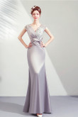 Gray lace V-neck Prom Dresses Discount Modern Evening Dresses with Bow TSJY-124