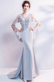 Gray Mermaid Prom Dresses Silver Sweep Train Evening Dresses TSJY-163