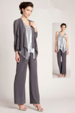 Gray Three Piece mother of the bride pants sets Silver Sequins Vest mps-235
