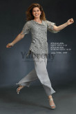 Gray Venice lace pants suit for Mother of the bride dresses trousers set two pieces mps-060