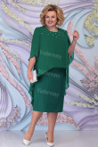 Green Chiffon Mid-Calf Mother Of The Bride Dress, Plus Size Women's Outfits mps-447-3