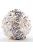 Champagne Hand Beading ivory Artificial Flowers Rose for Bride holding flowers