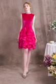 Rose Red Prom dresses Charming Ruffles High Collar Short dresses so-006