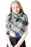 Women's Scarf Triangular Shawl Classic Plaid Scarves Green Free shipping