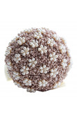 Ivory and Bean paste paste Elegant Pearls Wedding holding flowers for bride