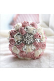 Ivory and Pearl Pink Crystal Informal Artificial Flowers Rose for bride holding flowers