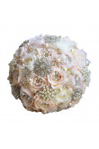 Ivory and pink wedding bouquets for bride with Hand Beading pearls