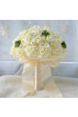 Ivory Artificial Flowers Rose for Bridesmaid Bouquet with Glass Drill
