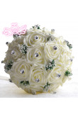 Ivory Simulation Rose flowers for bride holding flowers with Crystal