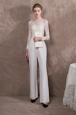 2019 Fashion Ivory Wedding Jumpsuits With Sleeves so-036