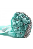 Jade Blue Crystal Artificial Flowers Rose for Bridesmaid Bouquet for wedding