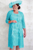 Jade Blue Lace 2PC Mother of the bride dress  Plus size women's outfit mps-348
