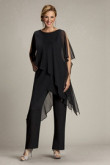 Black Beach Loose Chiffon mother of the bridal dress pants suits mps-193