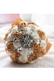 Khaki and Ivory Crystal Informal Artificial Flowers Rose for bride holding flowers