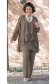 Khaki Dressy Elastic Women's outfits mother of the bridal pants suits mps-047