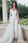 Lace Bridal Jumpsuit with Detachable tulle Train so-118