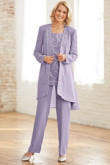 Lavender Chiffon Mother of the bride pant suit dress with Sequins Elastic waist Trouser mps-101