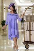 Lavender Plus size Mother of the bride dress with Sleeves Mid-Calf mps-364