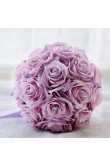 Lilac Artificial Flowers Rose for Bride Bouquet with Crystal