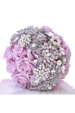Lilac Crystal wedding bouquets Bridesmaids holding flowers with pearls