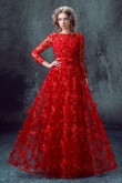 Long Sleeves Empire A-line Evening Dresses Red Floor-Length Prom Dresses TSJY-111