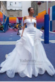 Wedding Dress vestido de noiva,Mermaid Detachable Bride Dresses With Brush Train Off The Shoulder White Bridal Gowns so-283
