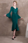 2020 Fashion Mid-Calf Hunter green Prom dresses so-022