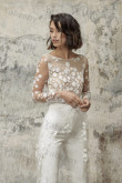 Modern Lace Wedding Jumpsuits Mid-Calf with Brush Train so-247
