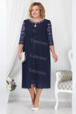 Navy Blue Mother Of The Bride Dress, Mid-Calf  Plus Size Women's Dresses mps-446-1