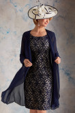 2PC Navy Blue Mother of the bride outfit With Jacket mps-384-1