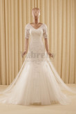 Off the Shoulder Appliques Tulle Elegant Ivory Wedding dresses wd-025