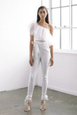 One Shoulder Bridal Jumpsuit Tulle Ruffles Top Elastic Chiffon Trousers so-131