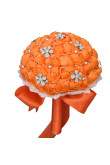 Orange Artificial Flowers Rose for Bridesmaids Bouquet
