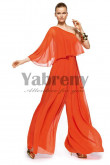 Orange One Shoulder modren pants sets Jumpsuits prom dress so-070