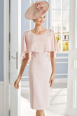 Pearl Pink Chiffon Poncho Mother of the bride dress With Hand Flower mps-387